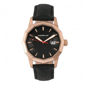 Morphic M56 Series Leather-Band Watch w/Date - Rose Gold/Black - MPH5604