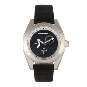 Morphic M46 Series Leather-Band Men's Watch w/Date - Silver/Black - MPH4602