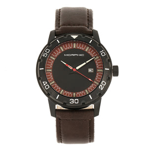 Morphic M71 Series Leather-Band Watch w/Date - Black/Dark Brown - MPH7105