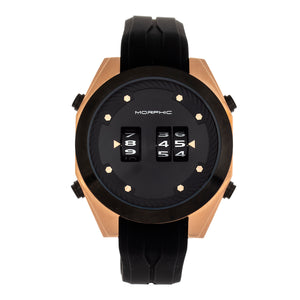 Morphic M76 Series Drum-Roll Strap Watch - Rose Gold/Black - MPH7603