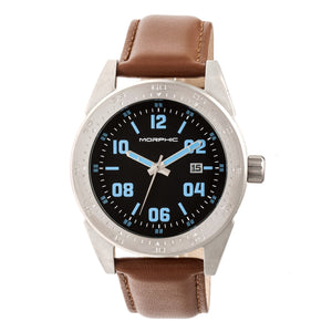 Morphic M63 Series Leather-Band Watch w/Date - Black/Brown - MPH6307