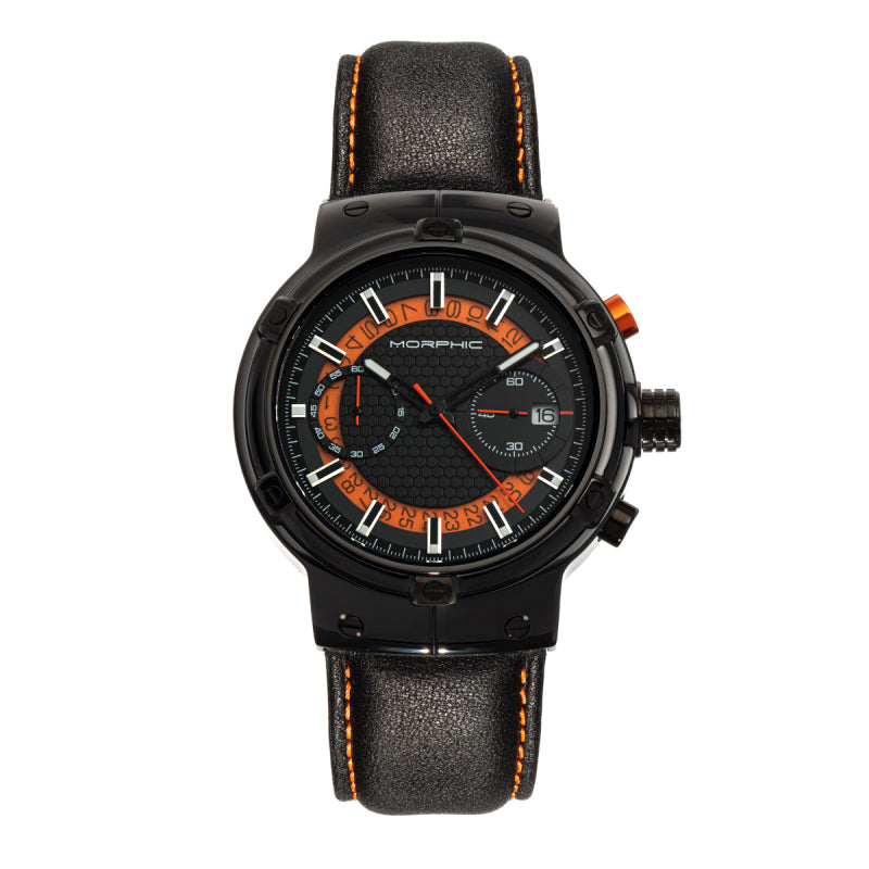 Morphic M91 Series Chronograph Leather-Band Watch w/Date