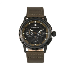 Morphic M61 Series Chronograph Leather-Band Watch w/Date - Black/Olive - MPH6106