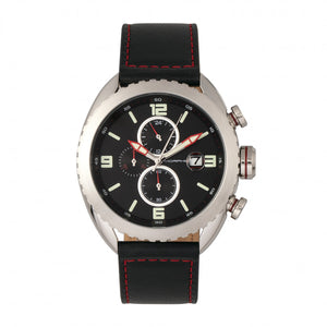 Morphic M64 Series Chronograph Leather-Band Watch w/ Date - Silver/Black - MPH6402