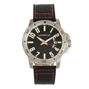 Morphic M70 Series Canvas-Overlaid Leather-Band Watch w/Date - Silver/Black - MPH7001