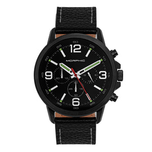Morphic M86 Series Chronograph Leather-Band Watch