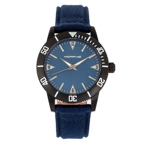 Morphic M85 Series Canvas-Overlaid Leather-Band Watch - MPH8504