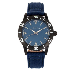 Morphic M85 Series Canvas-Overlaid Leather-Band Watch