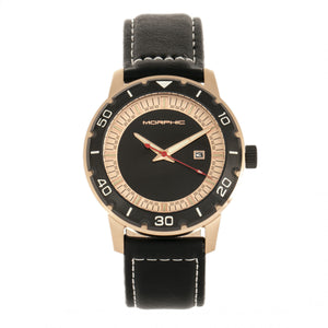 Morphic M71 Series Leather-Band Watch w/Date - Rose Gold/Black - MPH7104