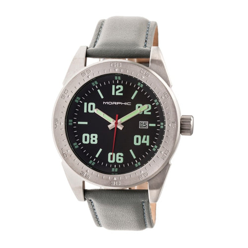 Morphic M63 Series Leather-Band Watch w/Date - MPH6304