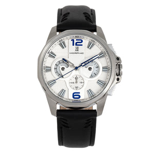 Morphic M82 Series Chronograph Leather-Band Watch w/Date - Silver/White - MPH8201