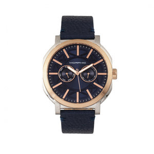 Morphic M62 Series Leather-Band Watch w/Day/Date - Rose Gold/Navy - MPH6206