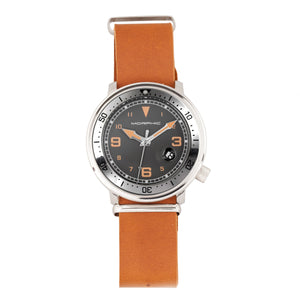 Morphic M74 Series Leather-Band Watch w/Magnified Date Display - Camel/Grey/Brown - MPH7413