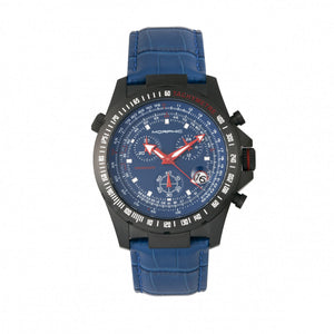 Morphic M36 Series Leather-Band Chronograph Watch - Black/Blue - MPH3606