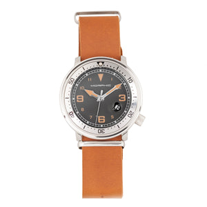 Morphic M74 Series Leather-Band Watch w/Magnified Date Display - Camel/Silver/Brown - MPH7412