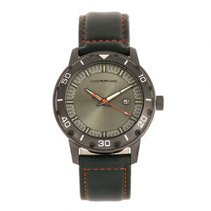 Morphic M71 Series Leather-Band Watch w/Date - Gunmetal/Forest Green - MPH7106