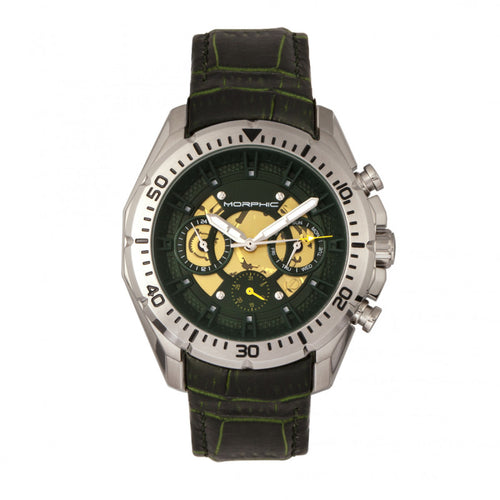 Morphic M66 Series Skeleton Dial Leather-Band Watch w/ Day/Date - MPH6602