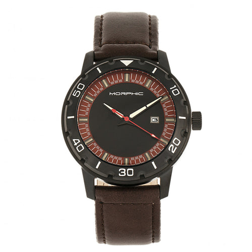 Morphic M71 Series Leather-Band Watch w/Date - MPH7105