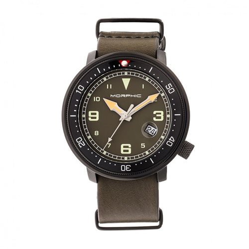 Morphic M58 Series Nato Leather-Band Watch w/ Date - MPH5806