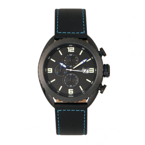 Morphic M64 Series Chronograph Leather-Band Watch w/ Date - Black/Blue - MPH6406