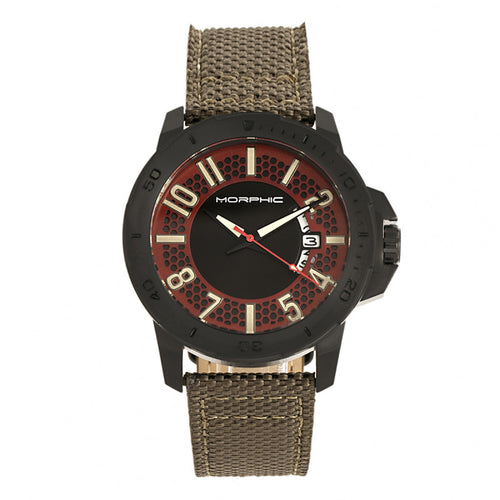 Morphic M70 Series Canvas-Overlaid Leather-Band Watch w/Date - MPH7005