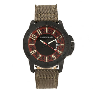 Morphic M70 Series Canvas-Overlaid Leather-Band Watch w/Date