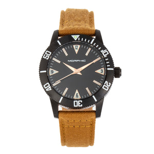 Morphic M85 Series Canvas-Overlaid Leather-Band Watch - Black/Beige - MPH8503