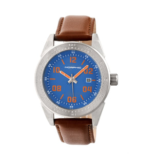 Morphic M63 Series Leather-Band Watch w/Date - Blue/Brown - MPH6306