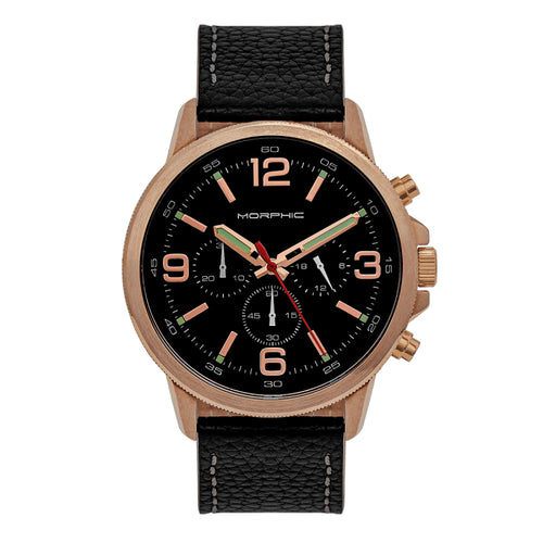 Morphic M86 Series Chronograph Leather-Band Watch - MPH8604
