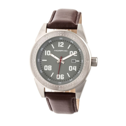 Morphic M63 Series Leather-Band Watch w/Date - MPH6305