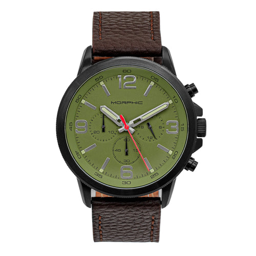 Morphic M86 Series Chronograph Leather-Band Watch - MPH8607