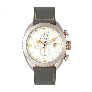 Morphic M64 Series Chronograph Leather-Band Watch w/ Date - Silver/Grey - MPH6401