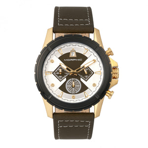 Morphic M57 Series Chronograph Leather-Band Watch - Gold/Olive - MPH5704