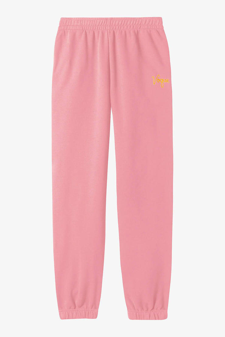 Jogging VOGUE rose avec logo brodé jaune