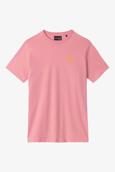 T-shirt VOGUE rose avec logo brodé jaune