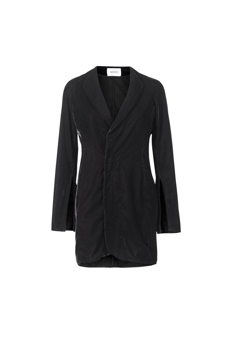 Velvet Wrap Front Blazer Dress With Slit Sleeves - NARRO