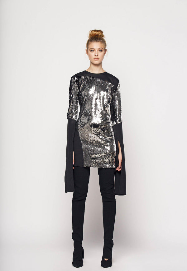 Sequin Short Dress With Elongated Sleeves - NARRO