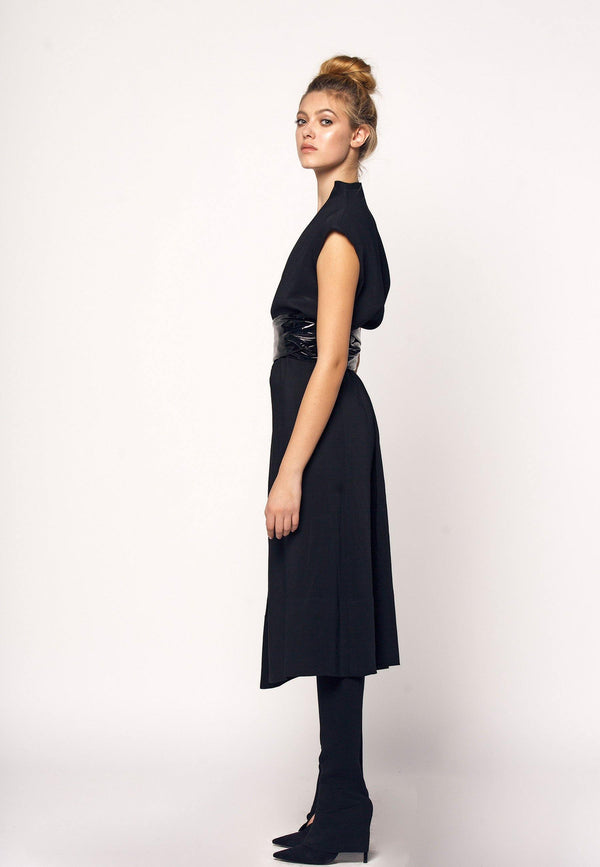 Midi Dress With Latex Belt - NARRO
