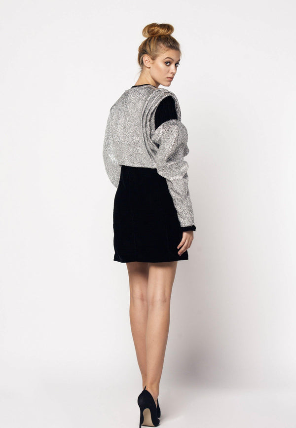 Sparkly Short Ruffled Cropped Jacket - NARRO