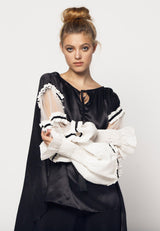Satin Blouse with Frilled Tulle Sleeves in Black White - NARRO