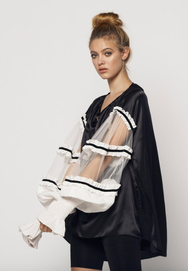 Satin Blouse with Frilled Tulle Sleeves in Black White