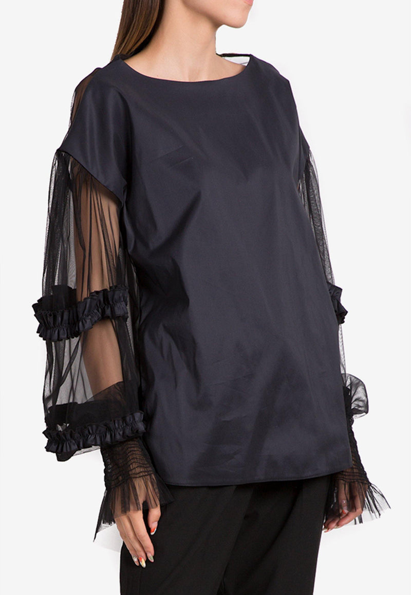 Sequins Blouse With Tulle Sleeves - NARRO