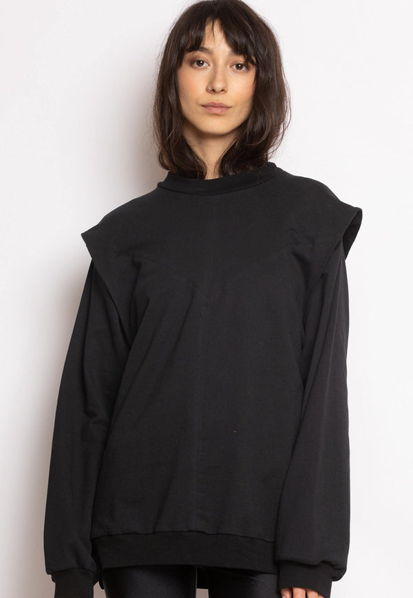 Sweatshirt with Enhanced Shoulders in Black
