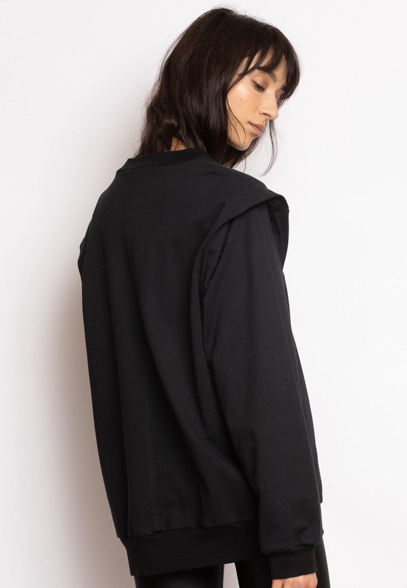 Sweatshirt with Enhanced Shoulders in Black - NARRO