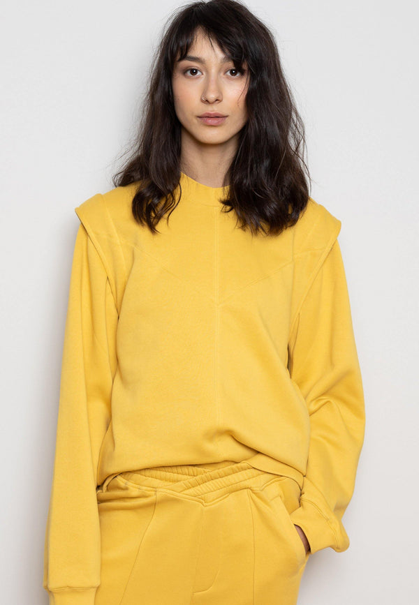 Sweatshirt with Enhanced Shoulders in Yellow