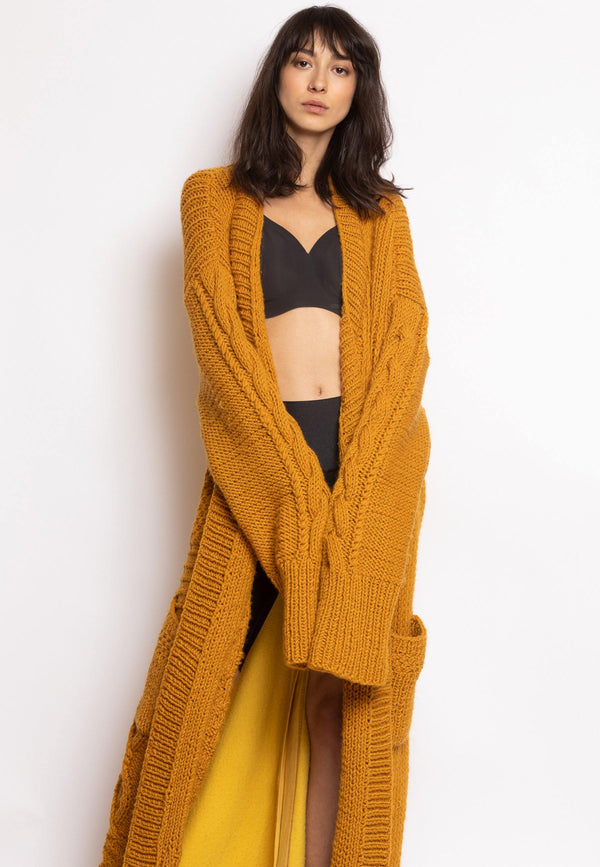 Knit Cardigan with Cotton Back - NARRO