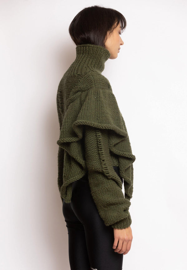 Cropped Knitted Turtleneck Sweater Khaki