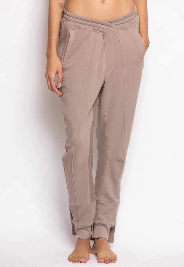 Overlapped Front Sweatpants with Cuffed Ankle in Beige