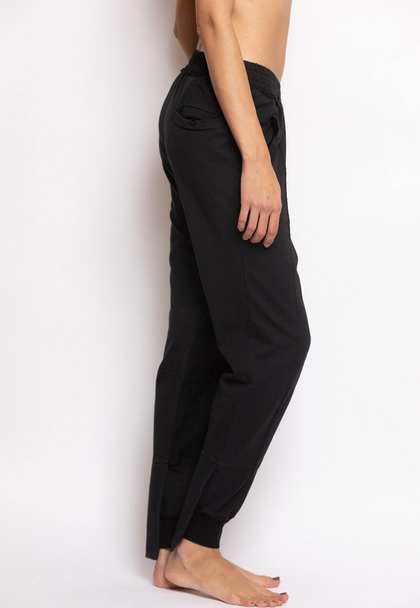 Overlapped Front Sweatpants with Cuffed Ankle in Black