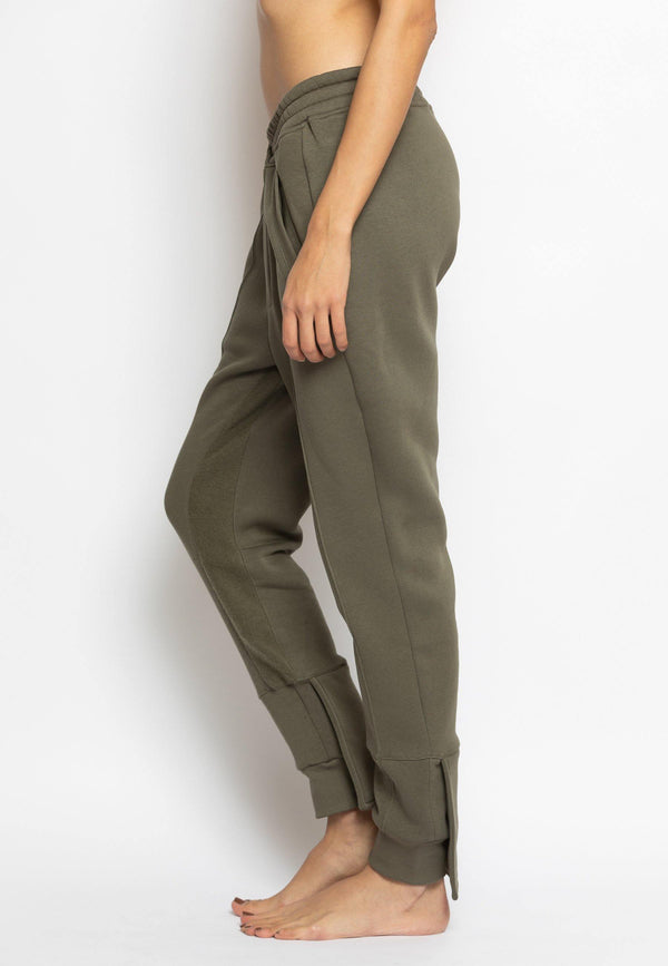 Overlapped Front Sweatpants with Cuffed Ankle in Khaki - NARRO